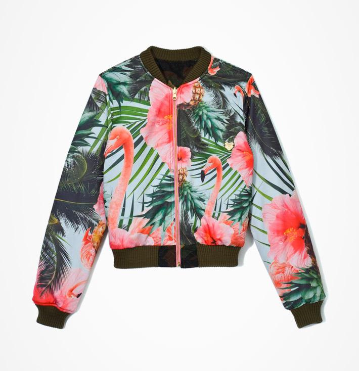 Femi Pleasure – dámská jarní aletní bunda do pasu, květinový vzor