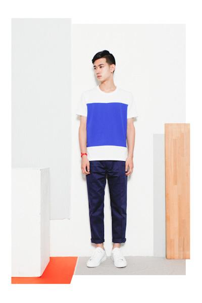Aloye – pánské šedé tričko, minimalistický motiv, modré kalhoty