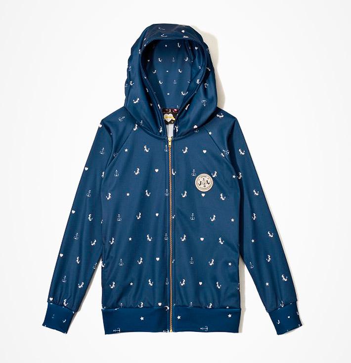 Femi Pleasure – dámská modrá mikina skapucí, námořnické symboly