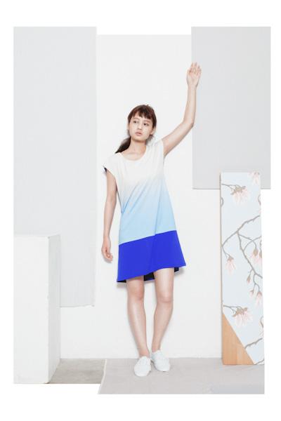 Aloye – dámské letní čaty, modro-bílé, barevný přechod