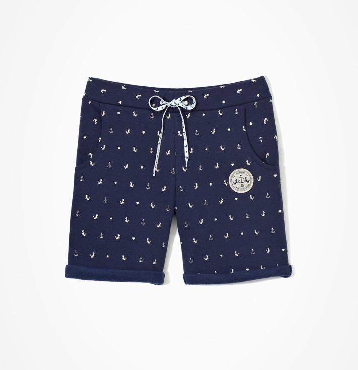 Femi Pleasure – dámské modré šortky, kotvičky, mořské panny