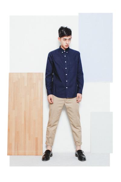 Aloye – pánská modrá košile, khaki kalhoty