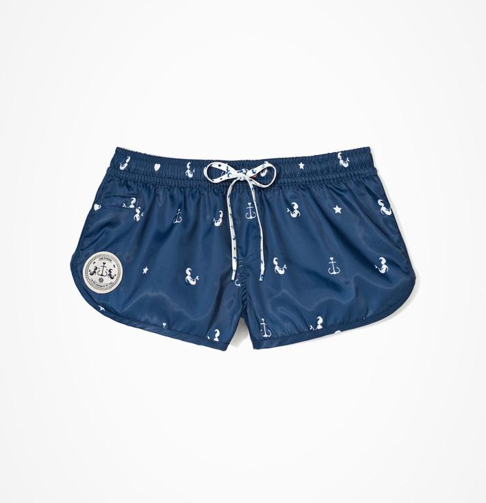 Femi Pleasure – dámské modré kraťasy, kotvičky, mořské panny