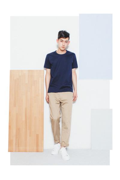 Aloye – pánské modré tričko, khaki kalhoty
