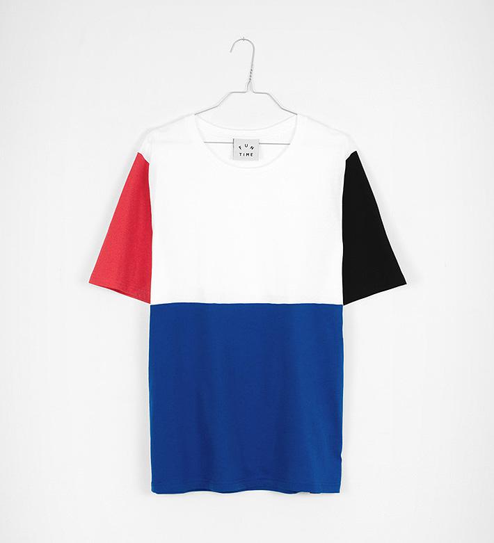 Fun Time – oblečení – tričko modro-bílé, červený ačerný rukáv