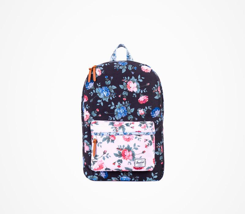 Černý Batoh Herschel Supply – Heritage Backpack Fine China, květinový motiv