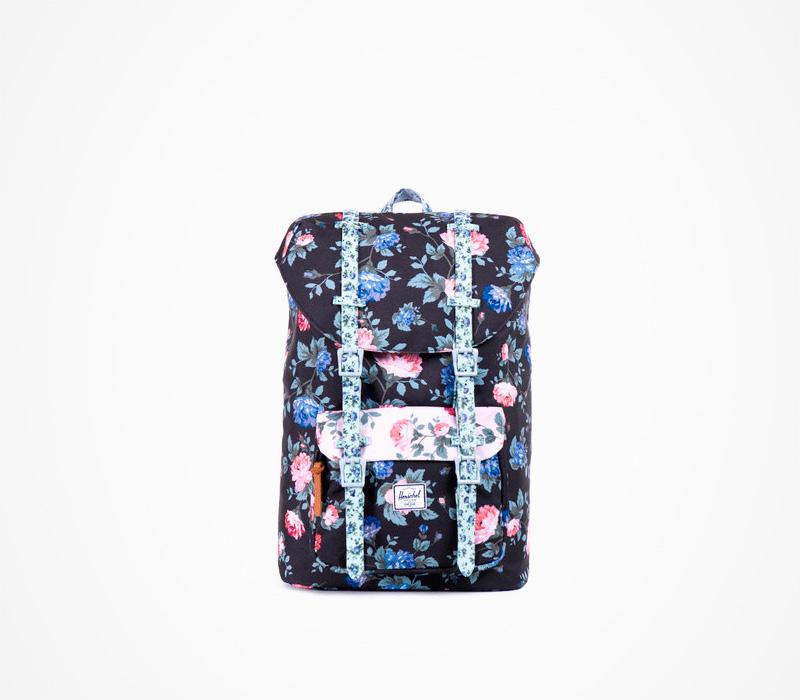 Taška Herschel Supply, černá Little America Backpack Fine China, květinový motiv