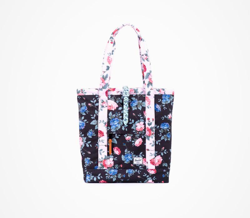 Černá taška Herschel Supply – Market Tote – Fine China, květinový motiv