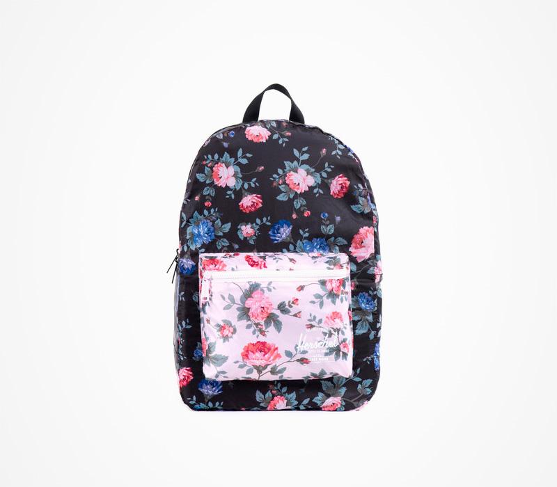 Černý skládací batoh Herschel Supply – Packable Backpack – Fine China, květinový motiv