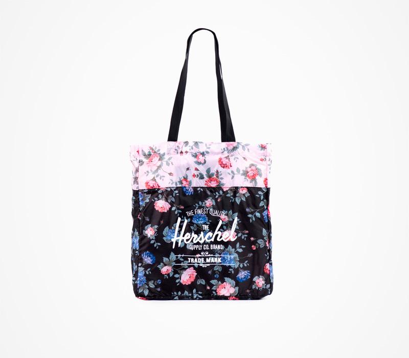 Černá skládací taška Herschell Supply – Packable Tote – Fine China, květinový motiv