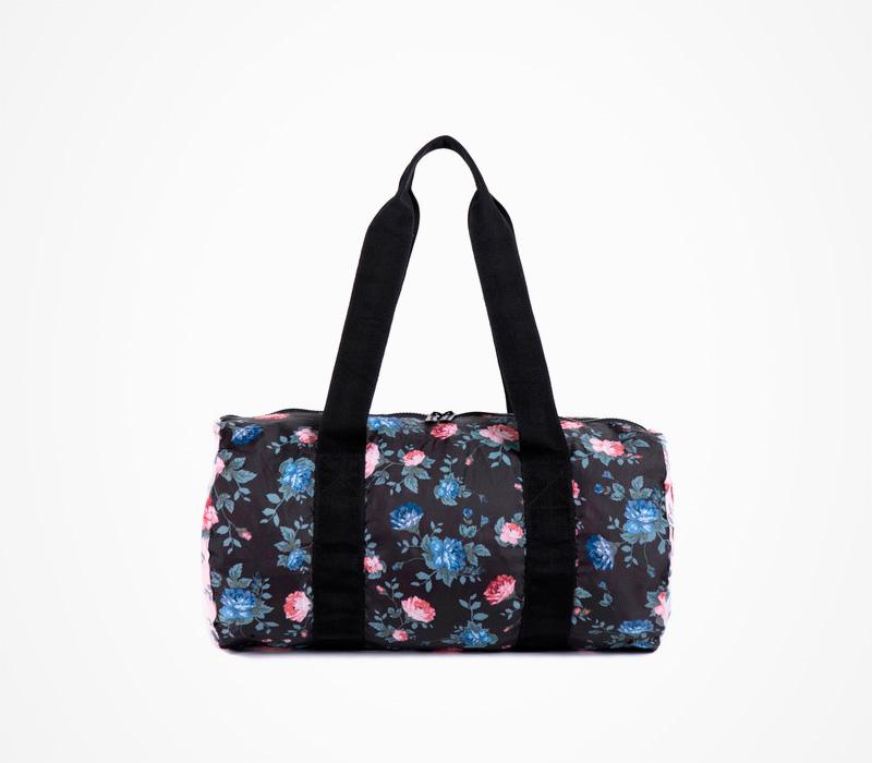 Černý skládací batoh/taška Herschel Supply – Backable Duffle – Fine China, květinový motiv