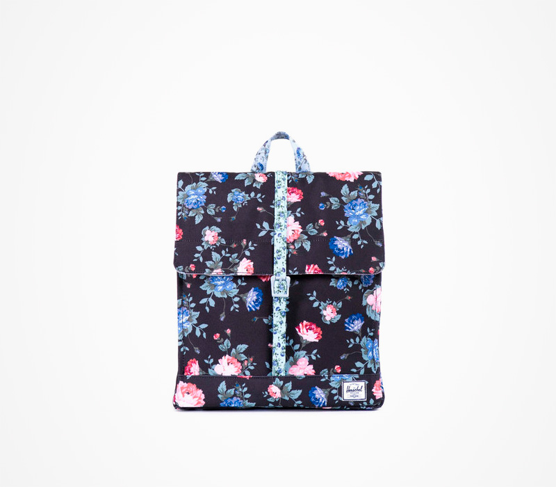 Batoh Herschel Supply, černý – City Backpack – Fine China, květinový motiv