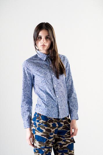 Carhartt WIP – dámská modrá košile s jemným vzorem