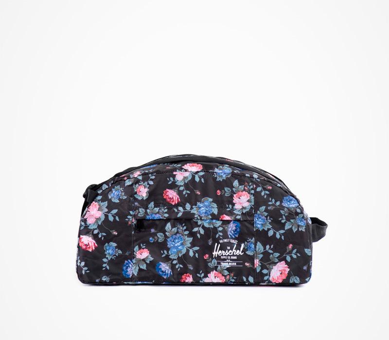 Skládací batoh/taška Herschel Supply, černý Packable – Journey Duffle – Fine China, květinový motiv