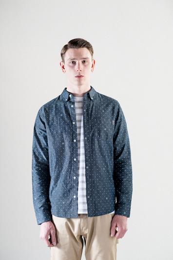 Carhartt WIP – šedo-modrá pánská košile s tečkami, dlouhý rukáv