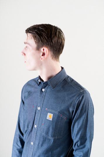 Carhartt WIP – modrá bavlněná košile, pánská, dlouhý rukáv