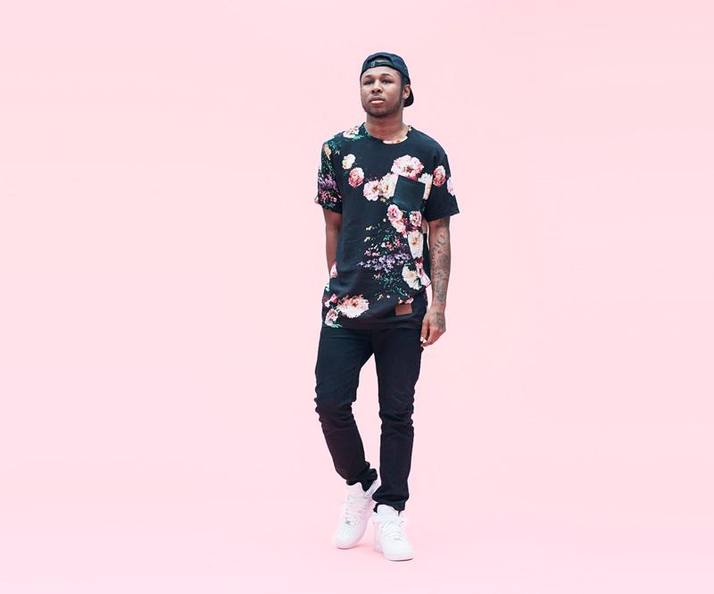 Shook – pánské černé tričko, květinový motiv