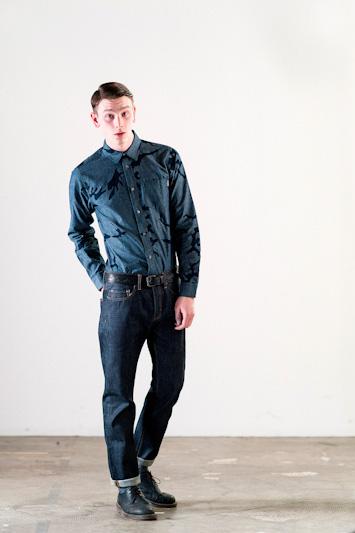 Carhartt WIP – pánská modrá košile, dlouhý rukáv, denim kalhoty