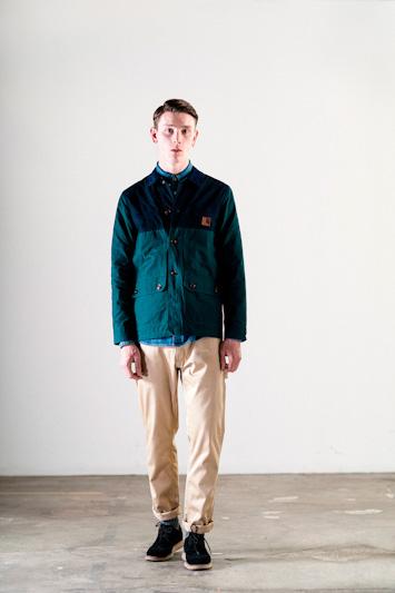 Carhartt WIP – khaki kalhoty, zelená jarní/letní bunda