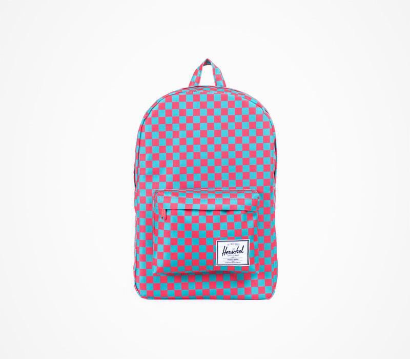 Herschel Supply batohy – kostičkovaný plátěný batoh na záda, červeno modrý