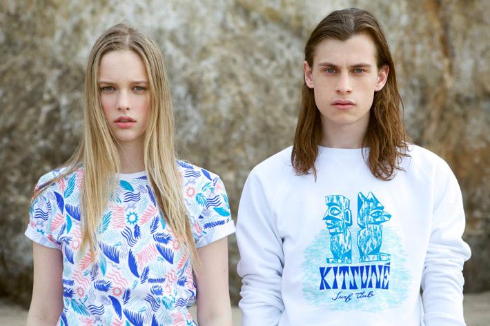 Maison Kitsuné – letní oblečení, tričko se vzory, bílá mikina s potiskem