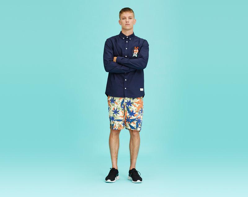 Libertine-Libertine – pánské oblečení – tmavě modrá košile – dlouhý rukáv, šortky se vzorem