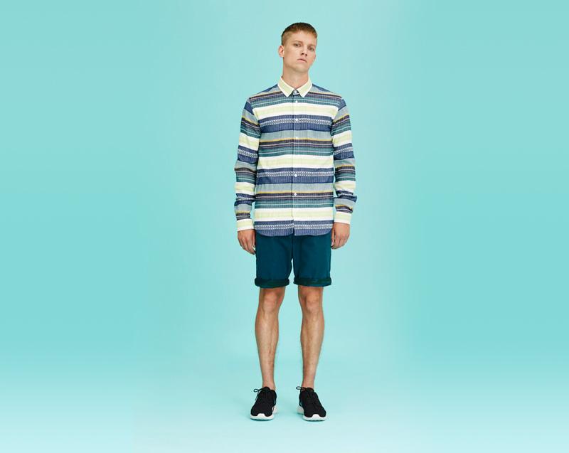 Libertine-Libertine – pánské oblečení – proužkovaná košile – dlouhý rukáv, modré šortky