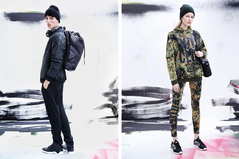 adidas Originals – maskáčové legíny, maskáčová mikina, černá bunda, tepláky