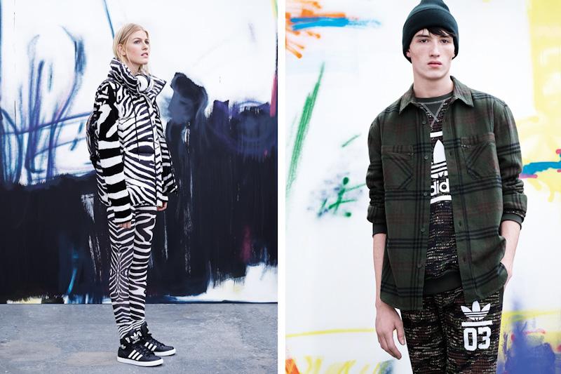adidas Originals – zebrované legíny, zebrovaná dámská zimní bunda, pánská košile