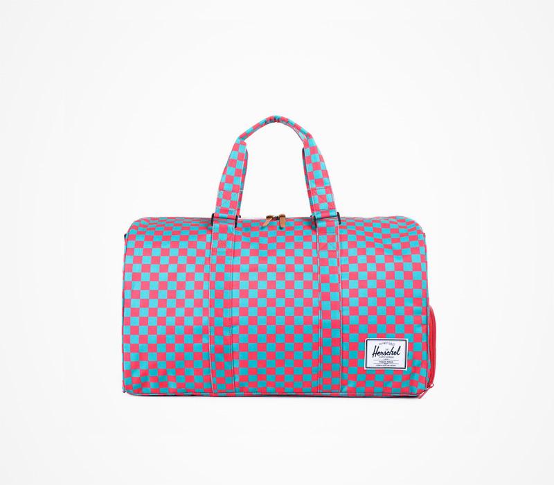 Herschel Supply batohy – příruční taška/batoh, kostkovaná, plátěná, červeno-modrá