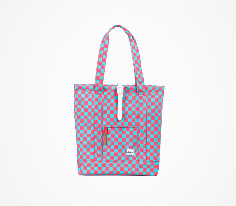 Herschel Supply batohy – plážová dámská taška, kostkovaná, plátěná, modro-červená
