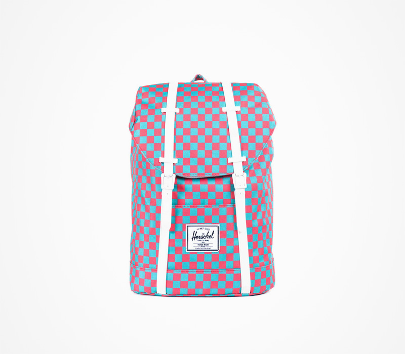 Herschel Supply batohy – stylový plátěný batoh na záda, kostkovaný, červeno-modrý