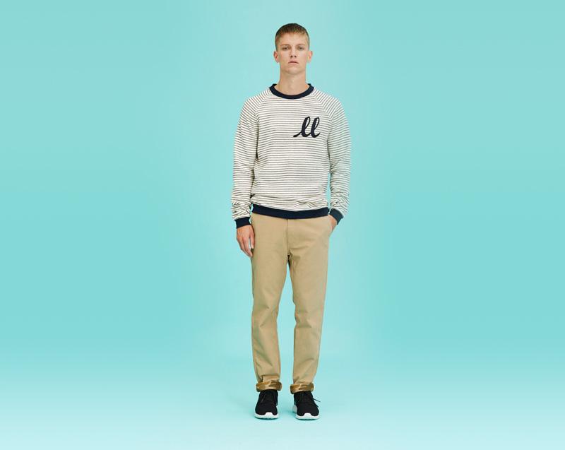 Libertine-Libertine – pánské oblečení – proužkovaná mikina, béžové kalhoty