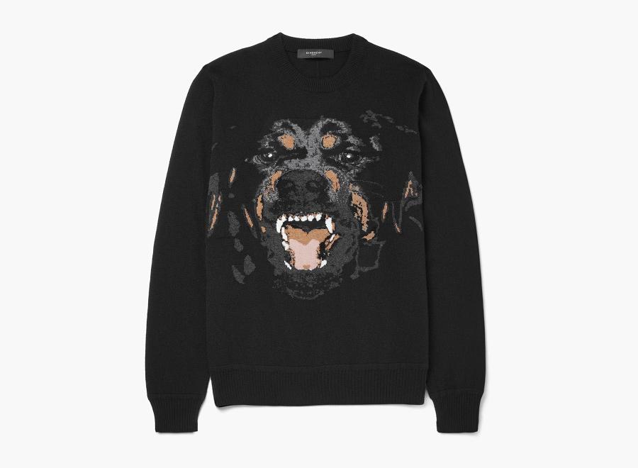 Givenchy – černý svetr s potiskem, Rotvajler