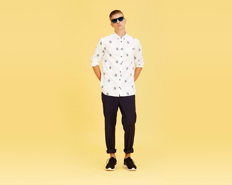 Libertine-Libertine – pánské oblečení – bílá košile se symboly – dlouhý rukáv, kalhoty