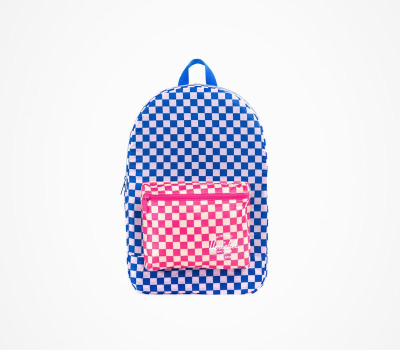 Herschel Supply batohy – plátěný batoh na záda, kostkovaný, modro-červený
