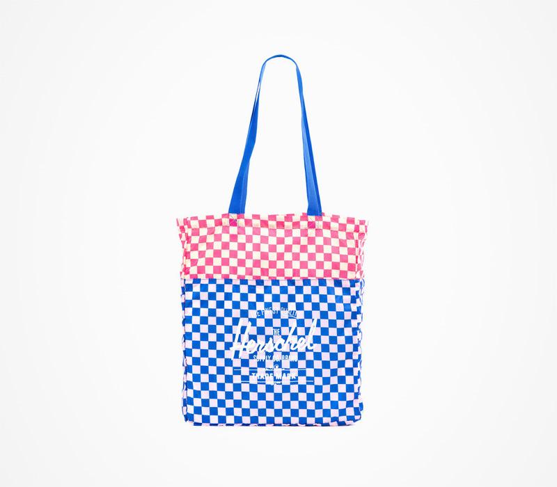 Herschel Supply – plážová taška do ruky, kostkovaná, modro-červená