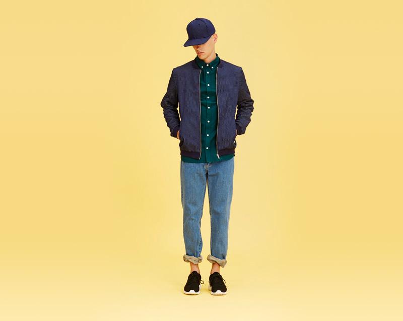 Libertine-Libertine – pánské oblečení – modrá bunda do pasu, modré jeansy