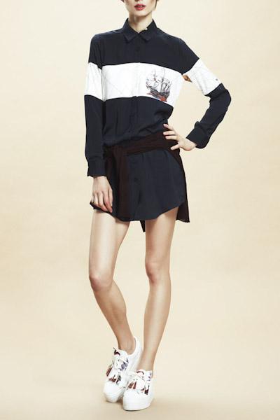 Asli Filinta – košilové letní šaty s límečkem, černo-bílé