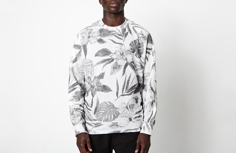 New Black – pánská mikina s černými rostlinnými vzory, bílá
