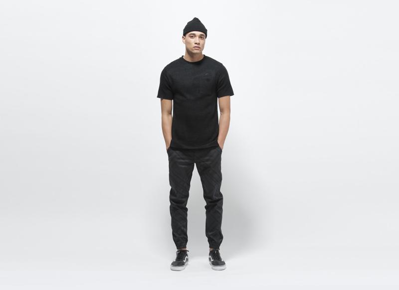 Publish – černé kalhoty joggers se vzorem, pánské, guma na nohavicích