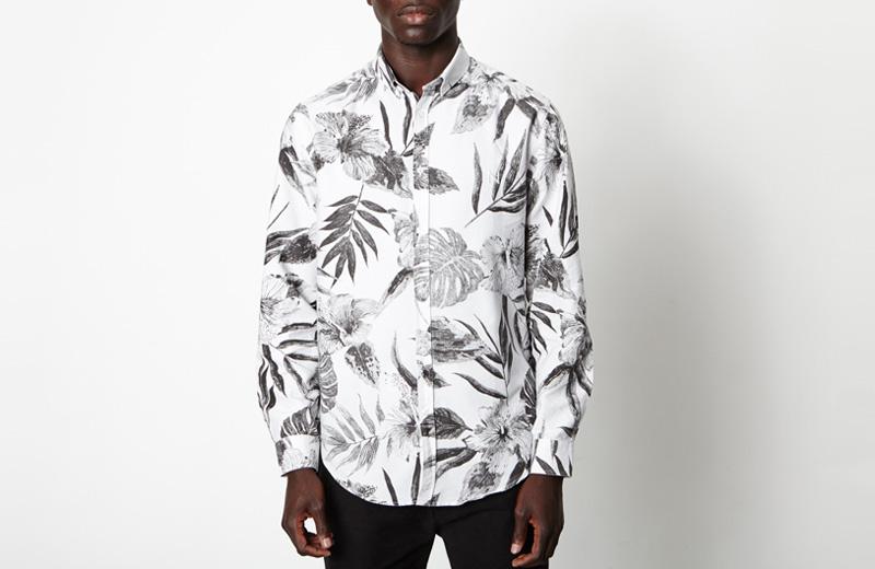 New Black – pánská košile s bílými rostlinnými vzory, bílá