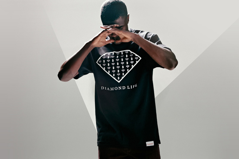 Black Scale x Diamond Supply Co. x Pac Sun – černé tričko s potiskem, diamant