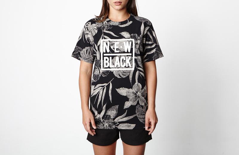 New Black – pánské tričko s černými rostlinnými vzory, černé