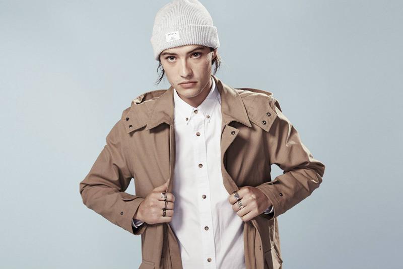 Huffer – steetové oblečení, hnědá parka s kapucí, pánská