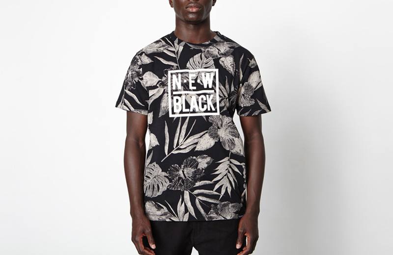 New Black – dámské tričko s černými rostlinnými vzory, černé