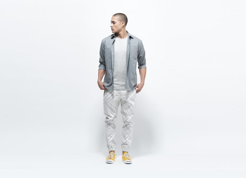 Publish – světlé pánské kalhoty se vzorem, joggers s gumou na nohavicích