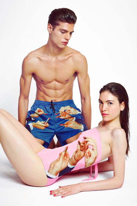 MSGM x Toiletpaper – extravagantní pánské modré plavecké šortky