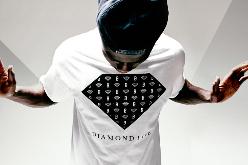 Black Scale x Diamond Supply Co. x Pac Sun – bílé tričko s potiskem, diamant