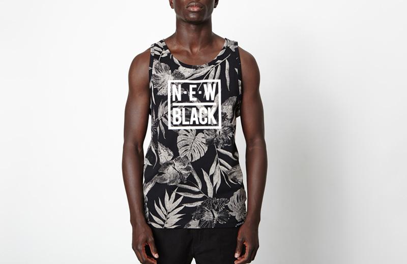New Black – pánský nátělník s bílými rostlinnými vzory, černý